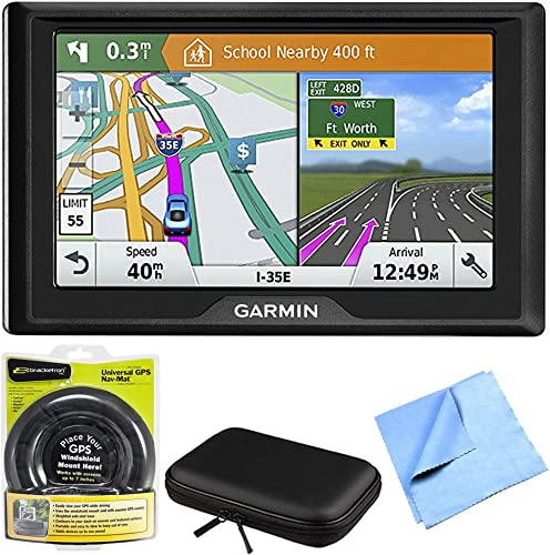 Garmin 010-01679-0B Drive 61 LM GPS Navigator with Driver Alerts – USA Canada Bundle with Hard EVA Case with Zipper for Tablets and GPS, Navigation Dash-Mount 6 Inch Microfiber Cloth