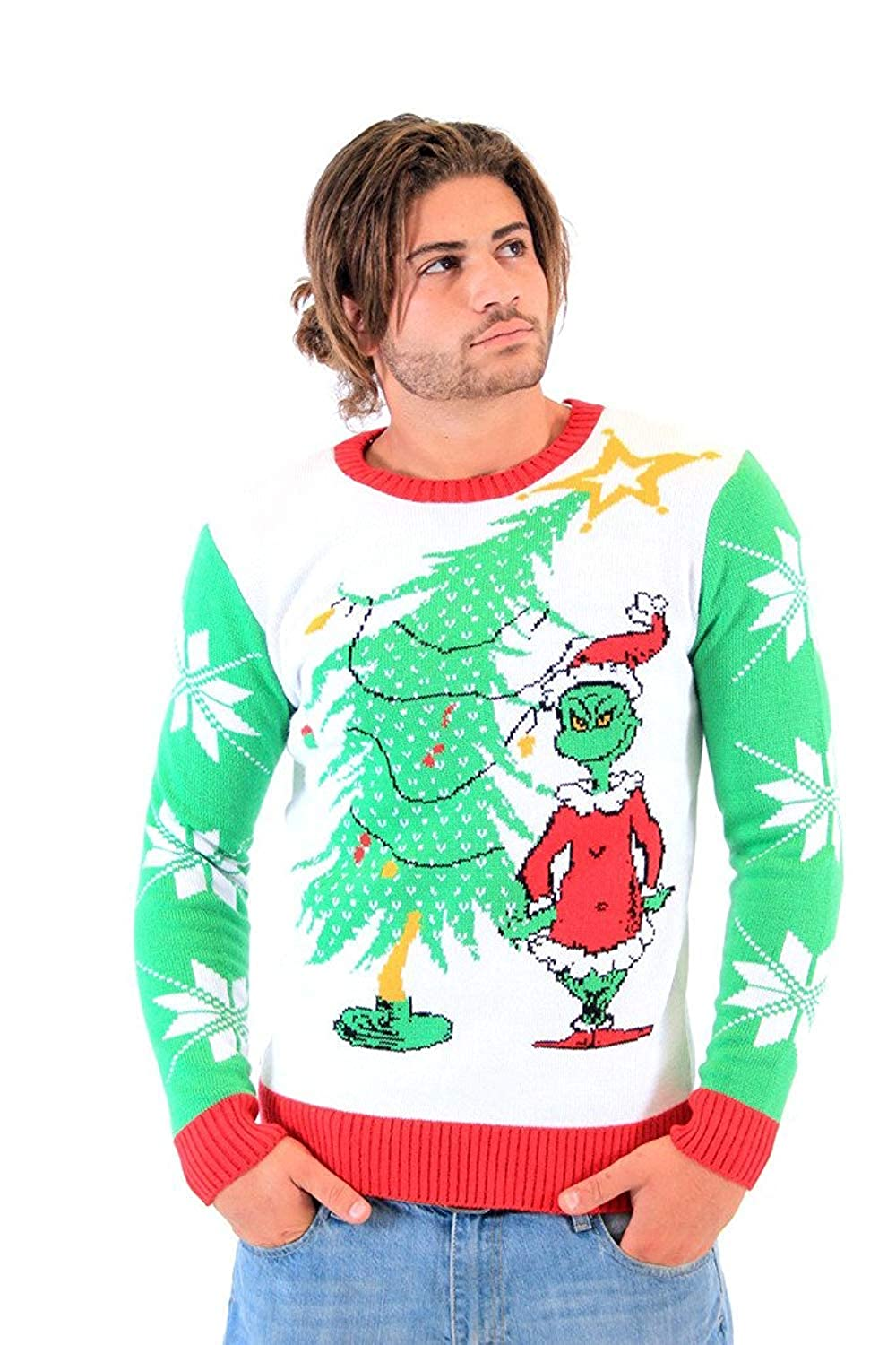acdc9b8c2e Amazon.com  Dr. Seuss Grinch As Santa Next to Tree Adult Off-White Ugly  Christmas Sweater  Clothing