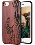 Cool iPhone 7 Case,iPhone 8 Case,Real Unique Wood Carving Wave Design with Silicone Dual layer Hybrid Protective Case for iPhone 7/ iPhone 8