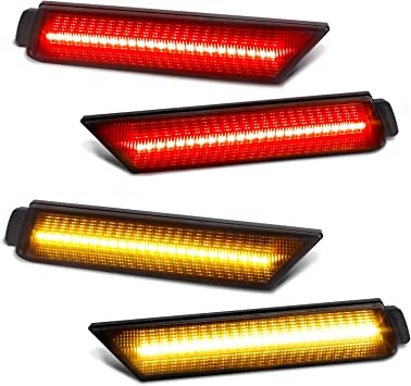 2x Smoke Lens Amber LED Front Rear Side Marker Lights For Chevy Camaro