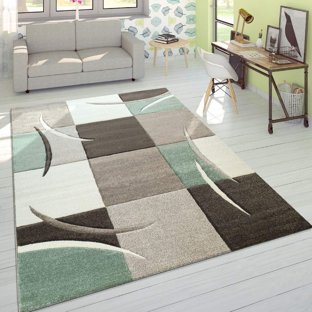 Paco Home Designer Teppich Modern Konturenschnitt Pastellfarben Mit Karo Muster Beige Grün, Grösse 240x330 cm