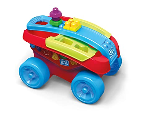 Mega Bloks Carrito Encajabloques, juguete de construcción para bebé +1 año (Mattel FVJ47