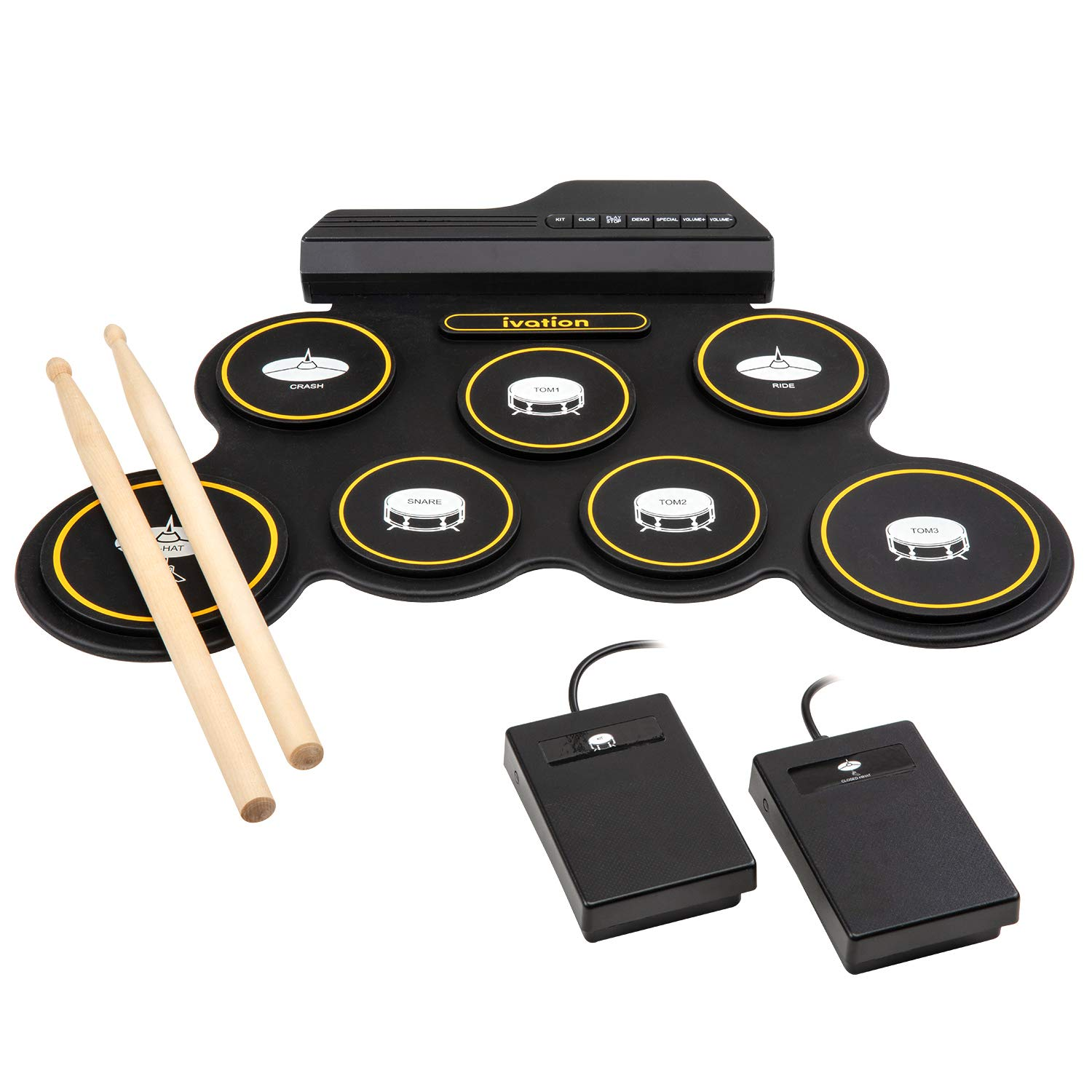 Ivation Portable Electronic Drum Pad - Digital Roll-Up Touch Sensitive Drum Practice Kit - 7 Labeled Pads 2 Foot Pedals Kids Children Beginners (No Speakers/AAA Battery Operated) by Ivation