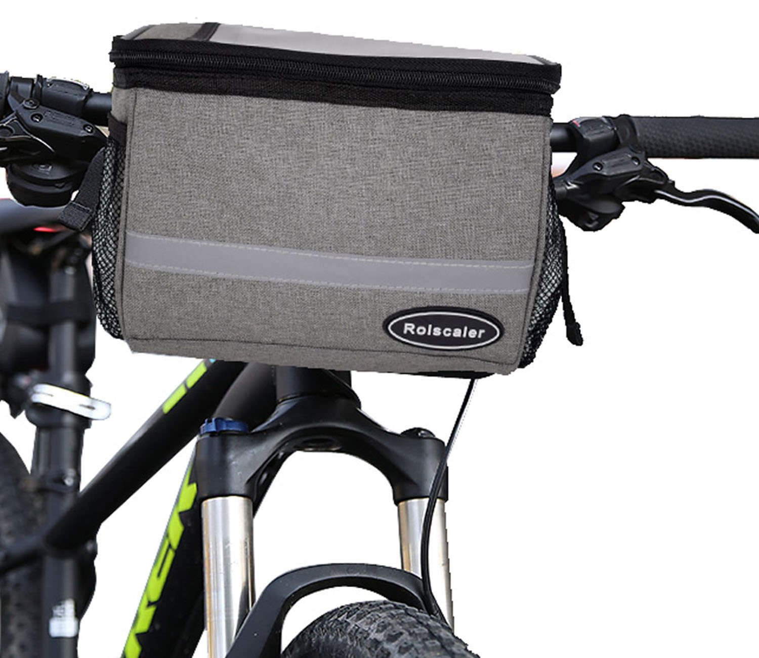 ROLSCALER 2 in 1 Bicycle Handlebar Bag with Insulation Function and Sliver Grey Reflective Stripe Outdoor Bike Pack Accessories