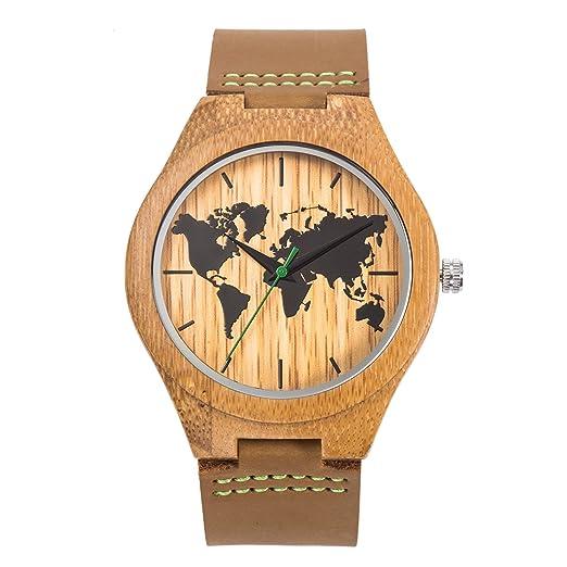 Reloj de pulsera de cuarzo vintage para hombre Sentai Reloj de madera para hombre hecho de madera natural hecha a mano de bambú correa de cuero genuino ...