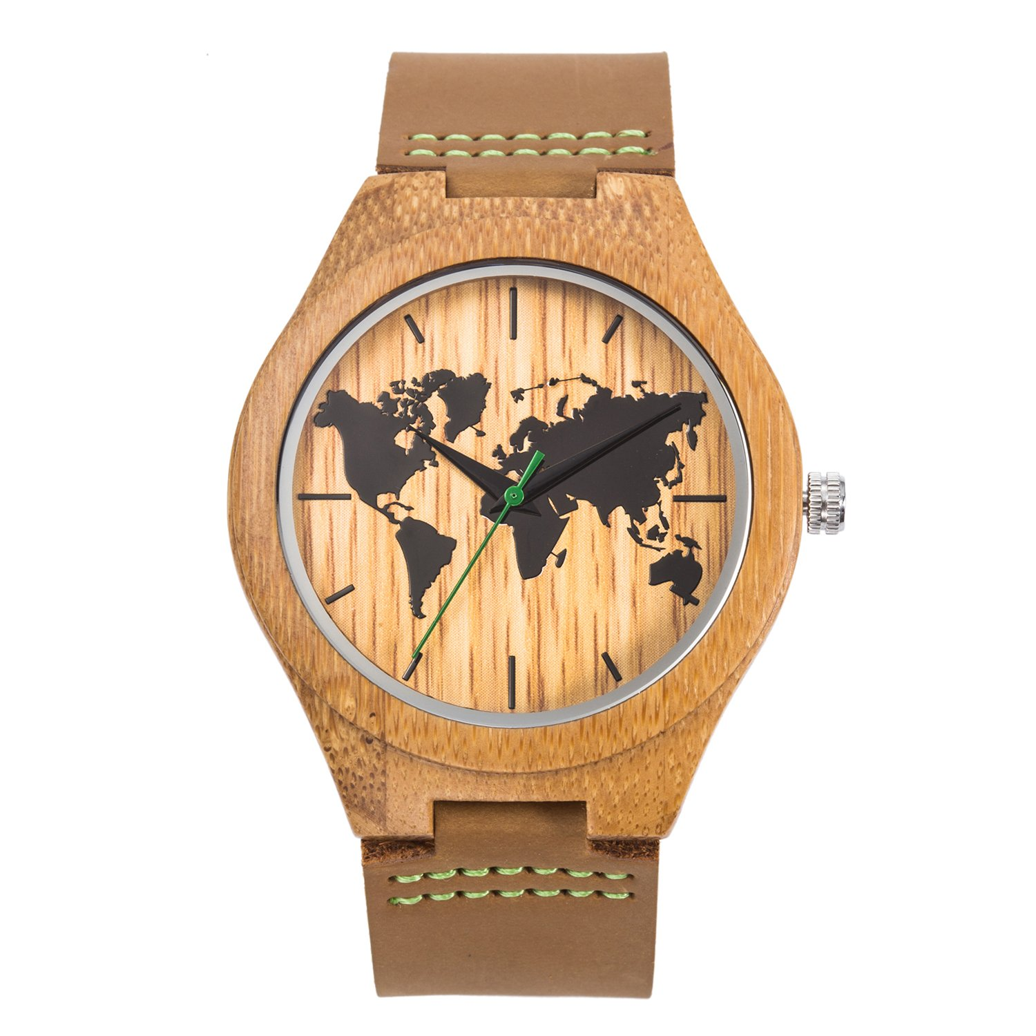 Sentai Men's World Map Wooden Watch, Handmade Natural Bamboo Wood, Genuine Leather Strap (Brown)