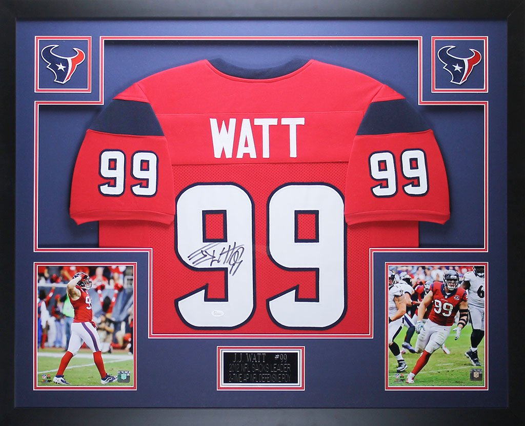 JJ Watt Autographed Red Texans Jersey - Beautifully Matted and Framed -  Hand Signed By JJ Watt and Certified Authentic by JSA COA - Includes  Certificate of ... a98aed6b2