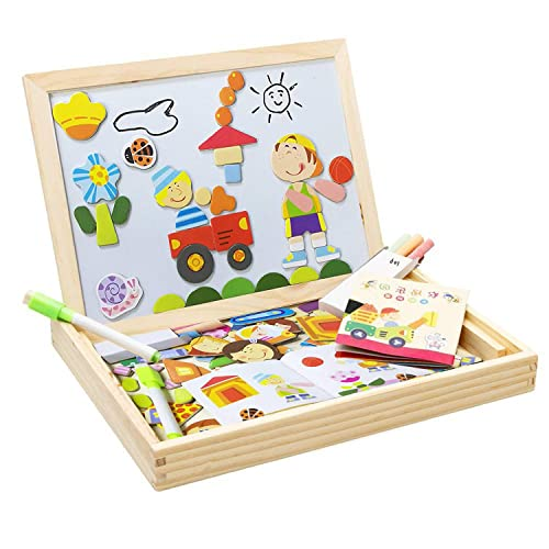 wooden double side dry easel drawing writing whiteblack board magnetic jigsaw puzzle game toy