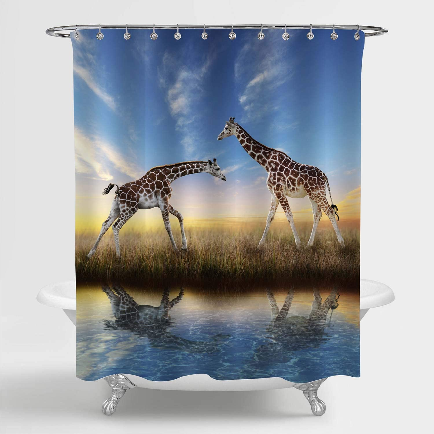 MitoVilla Giraffe Shower Curtain Set with Hooks for Bathroom Decor, Giraffes Playing at African Safari Sunset Bahtoom Accessories, Giraffe Gifts for Men, Women and Kids, Blue, Brown, 72