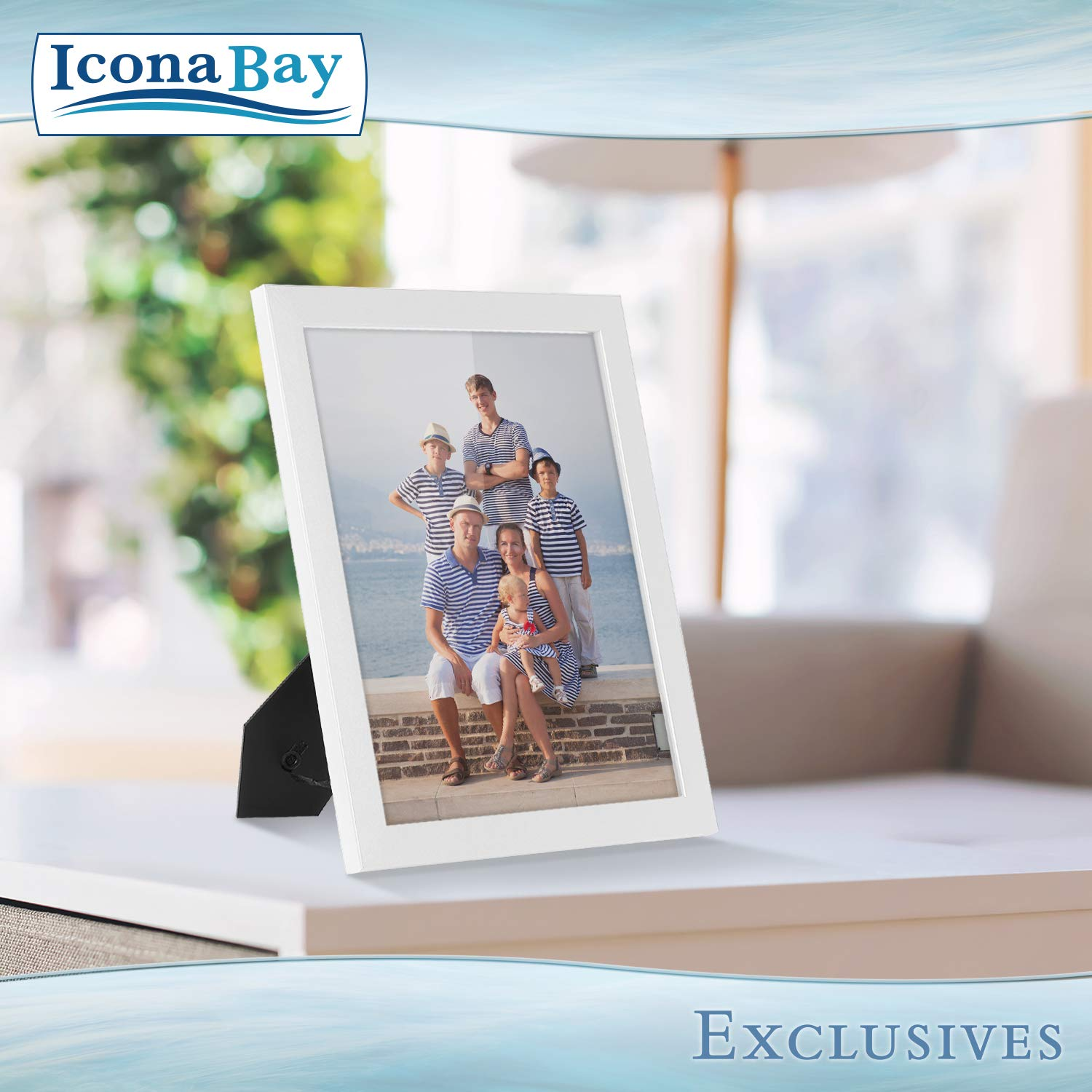 Icona Bay 8x10 Picture Frame (6 Pack, White), White Sturdy Wood Composite Photo Frame 8 x 10, Wall or Table Mount, Set of 6 Exclusives Collection by Icona Bay (Image #5)