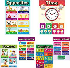Educational Posters for Kindergarten, Classroom Posters Elementary Learning Posters for Preschool, Toddlers Learning Posters Including Time and Numbers(6 Pack Newer)