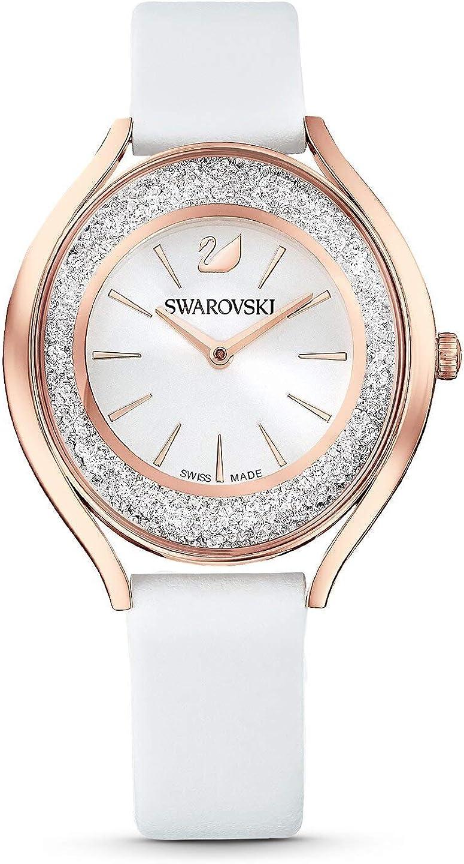 Swarovski 5519453 Crystalline Aura - Reloj de pulsera para mujer (correa de piel, acabado en PVD), color blanco y dor
