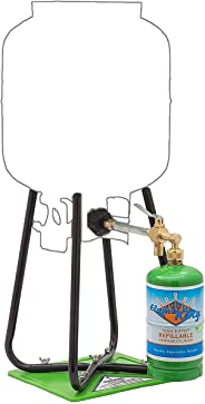 Flame King Refillable 1 lb Empty Propane Cylinder Tank - with Refill Kit and CGA600 Connection - Reusable - Safe and Legal Re