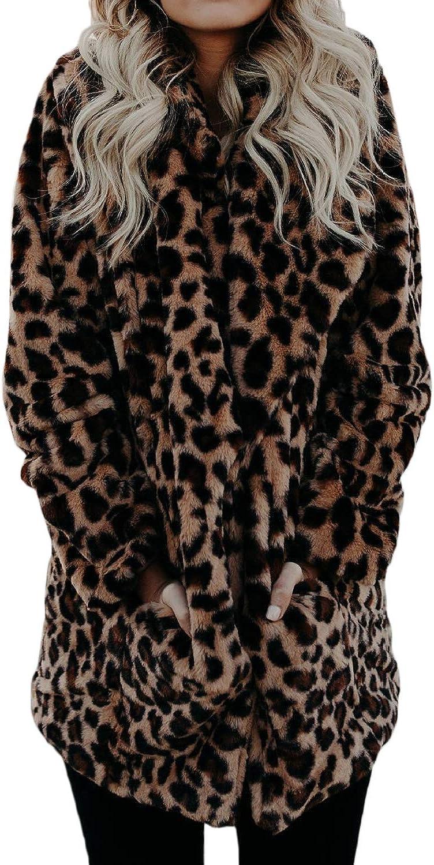 Fasumava Le Donne Leopardato Faux Pelliccia Invernale Spesso Indumenti Casual Fuzzy