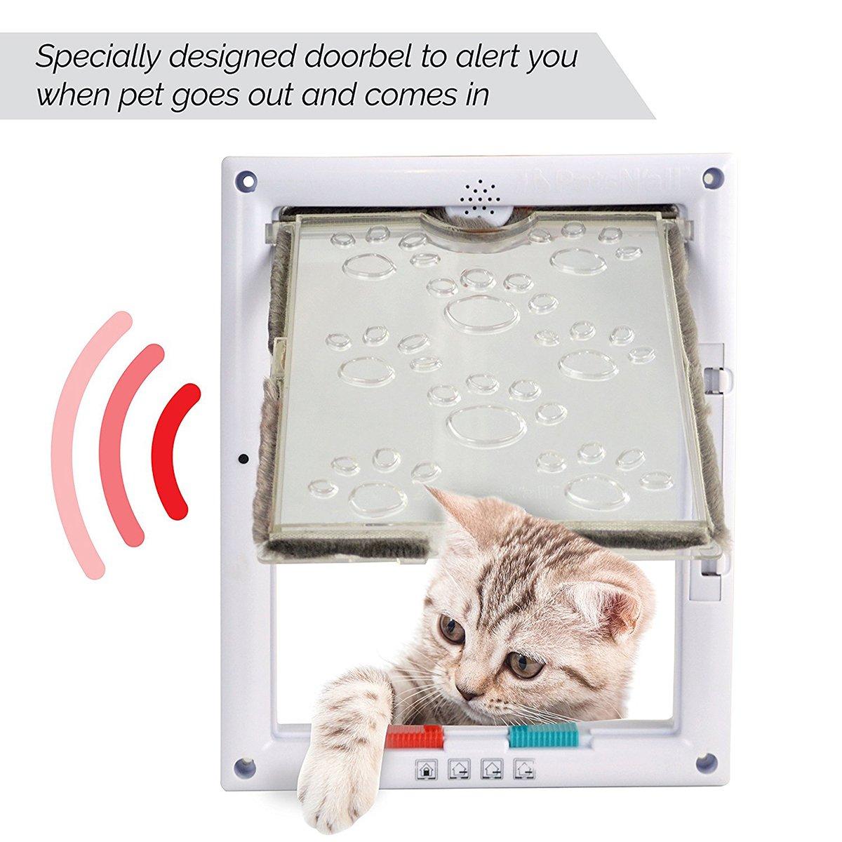 PetsNall Puerta de Gato Magnética Bloqueable de Aleta Cuadrada Acceso Seguridad para Gatos Perrito ,Ventana de Observación de Mascota de 4 Modos (L, ...
