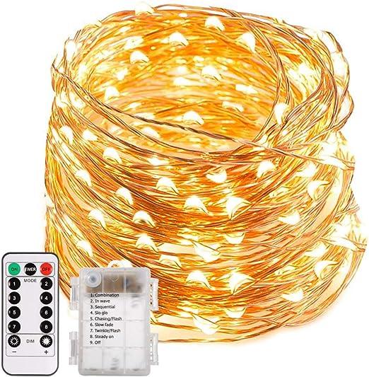 o o LED-Lichterkette 10,20,40 oder 100er m Timer Batterie nicht dabei