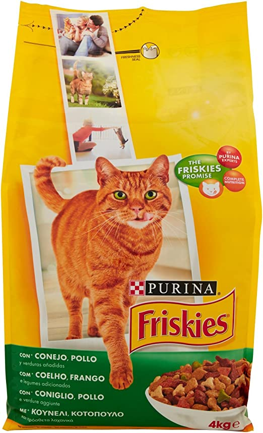 Purina - Friskies Adulto Gato con Conejo, Pollo y Verduras - 4 kg ...