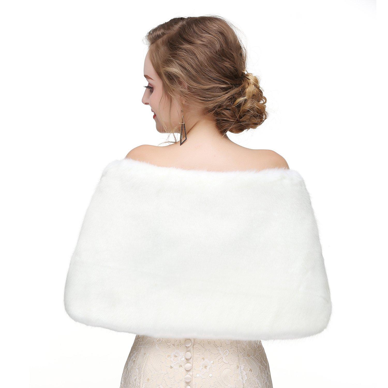 Wowbridal Women's Winter Warm Faux Fur Shawl Coat Jacket Parka Outerwear Tops (Medium, White 2) by WOWBRIDAL (Image #2)