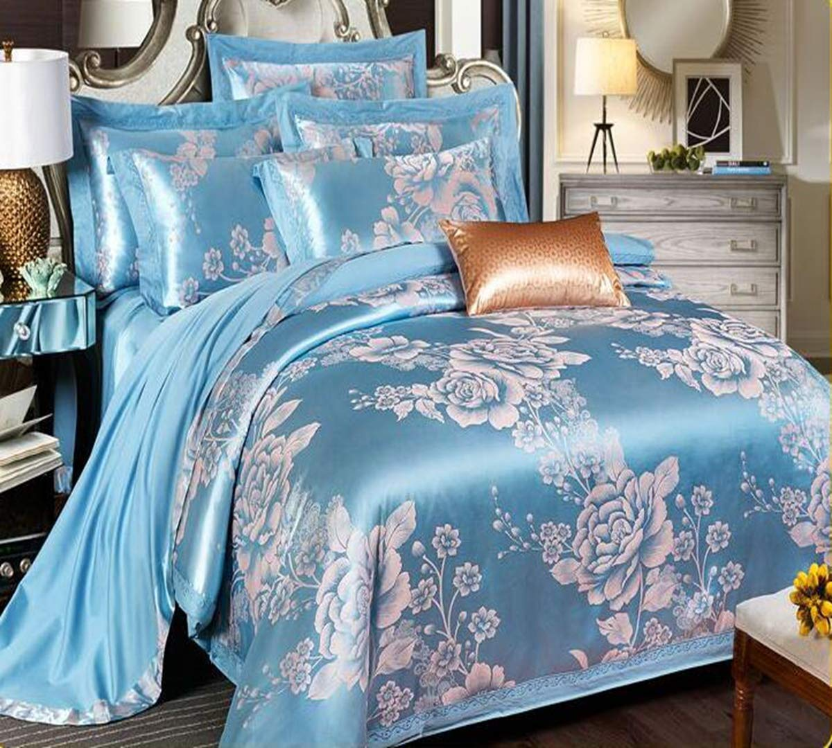 Comfortable Bed Cover Satin Jacquard,The New Bedding Four Sets,European Style Bedding Kits 4 Pcs for Bed Size Twin/Queen/King (Size : Twin/Queen)