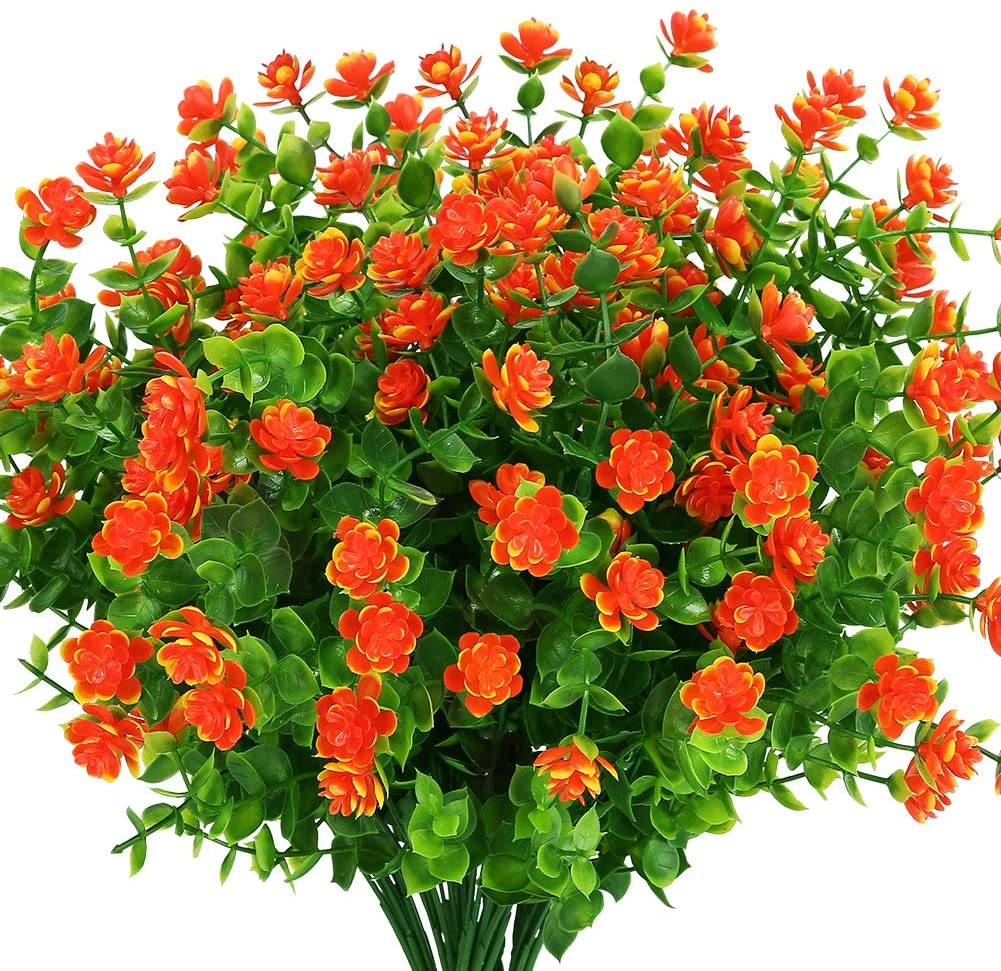 KLEMOO Artificial Flowers Fake Outdoor UV Resistant Boxwood Plants Shrubs, Faux Plastic Greenery for Indoor Outside Hanging Planter Home Office Wedding Farmhouse Decor (Orange Red)