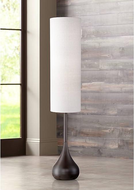 Possini Euro Design Moderne Mid Century Modern Floor Lamp Bronze Metal Droplet Off White Cream Cylinder Shade For Living Room Reading Possini Euro