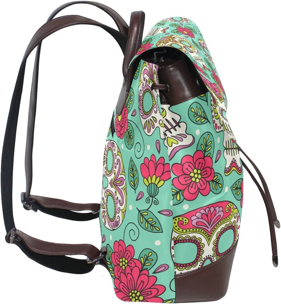 KUWT Mexican Day Of the Dead Sugar Skull and Flowers PU Leather Backpack Photo Custom Shoulder Bag School College Book Bag Casual Daypacks Diaper Bag for Women and Girl