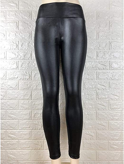 WOMENS HIGH WAISTED PU LEATHER PANTS SLIM ELASTIC TIGHTS SKINNY WINTER TROUSERS