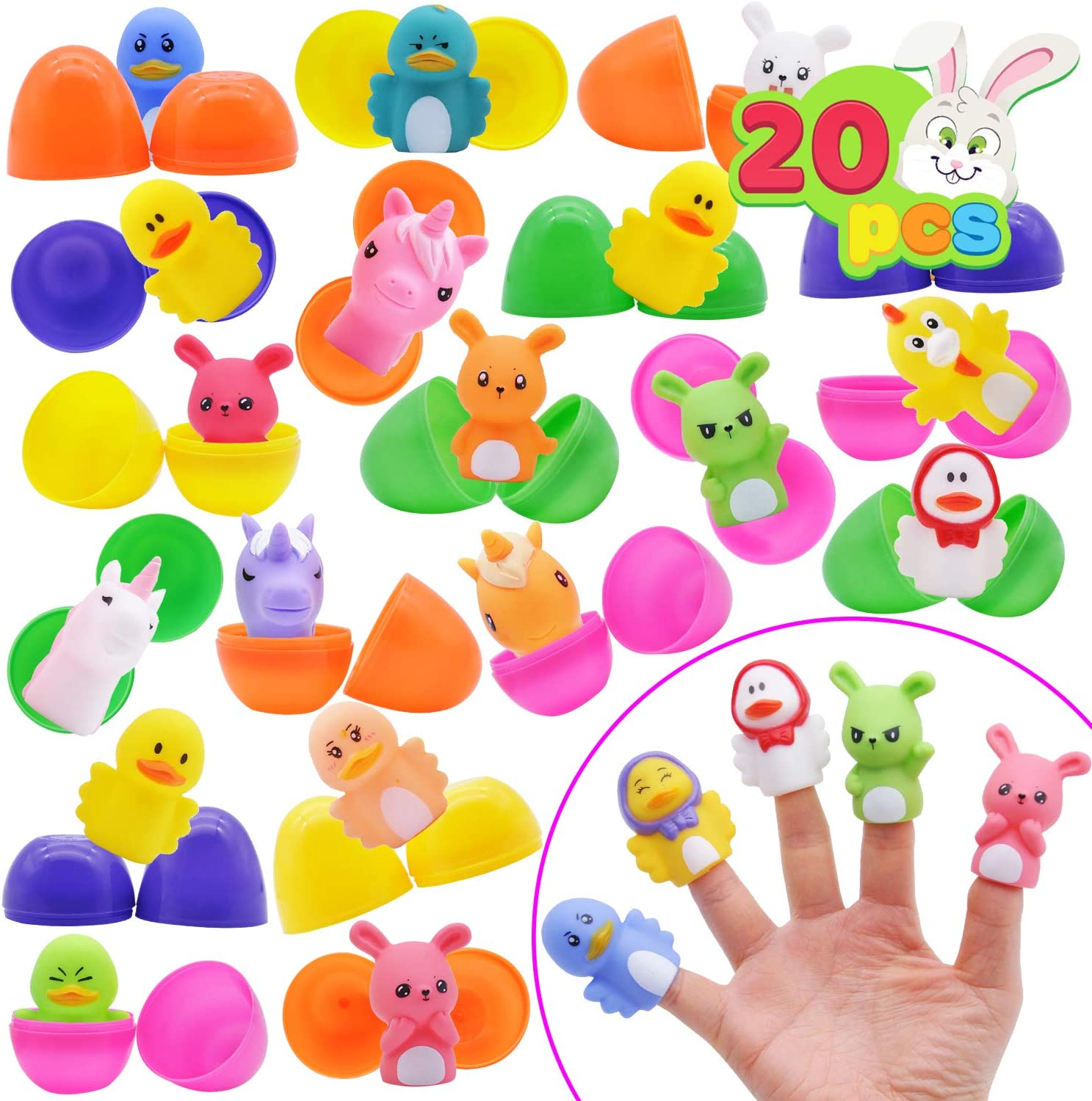 """20 PCs 2 3/4"""" Finger Puppet Easter Eggs for Easter Theme Party Favor, Easter Eggs Hunt, Easter Basket Stuffers Fillers, Classroom Prize Supplies, Hand Cartoon Animal Toys"""