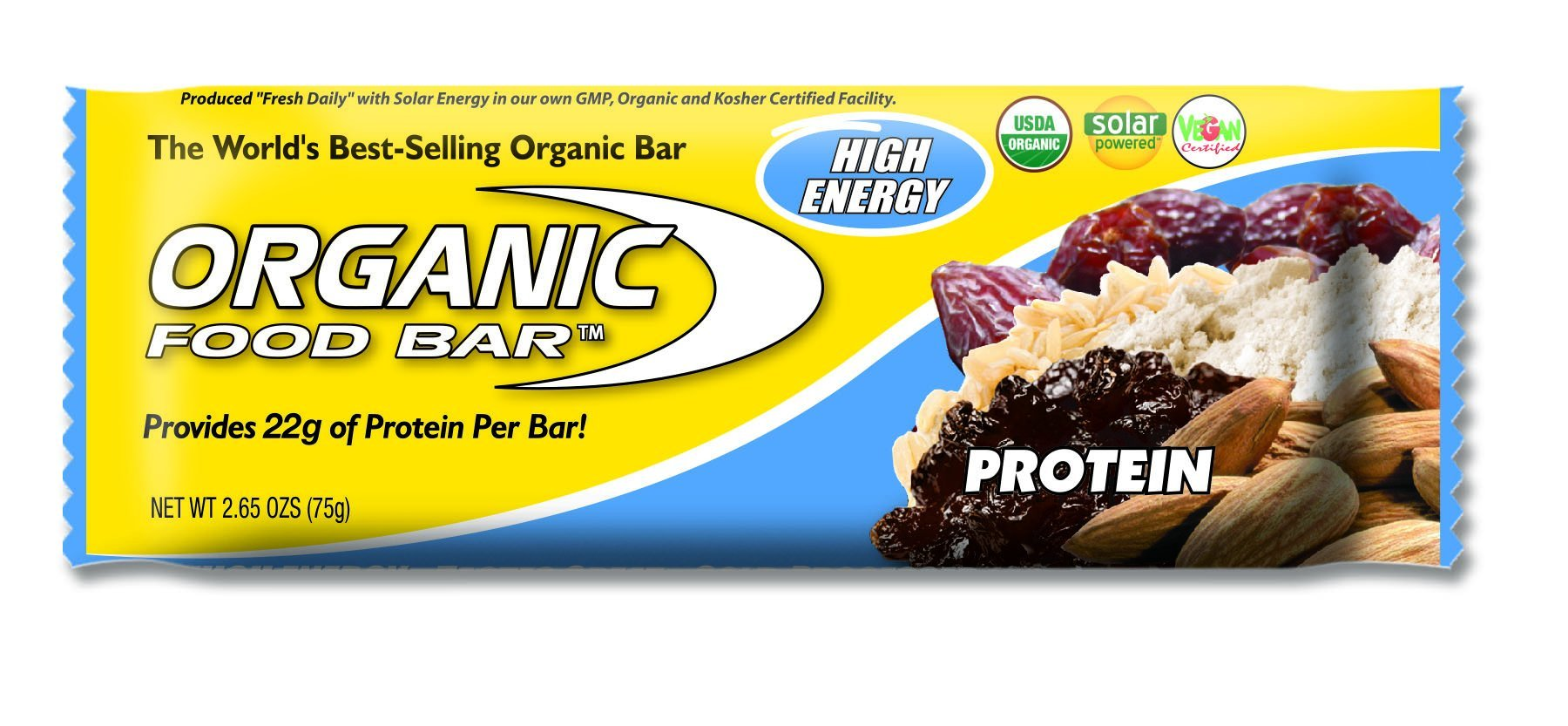 Organic Food Bar - Protein Bar, Perfect On-The-Go Food, 22 Grams of USDA Organic Vegan Protein (Pack of 12, 2.6 oz) by Organic Food Bar