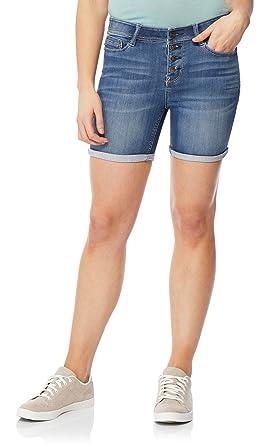 9217814c68 Amazon.com: WallFlower Women's Juniors InstaSoft Legendary Mid Thigh  Bermuda Denim Shorts: Clothing