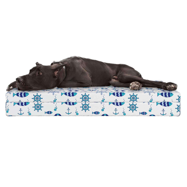 Amazon.com: Lunarable Sea Animals Dog Bed, Abstract Nautical ...