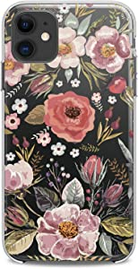 Cavka TPU Case Compatible with Apple iPhone 12 Pro Max 2020 New Back Cover 6.7 inches Pattern Floral Flexible Silicone Art Poppy Roses Cute Blossom Herb Print Flowers Design Clear Slim fit Soft Wild