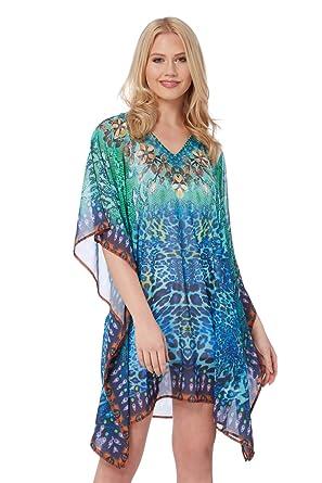2e84269295 Roman Originals Women Animal Print Kaftan - Ladies Tunics Kaftans for Beach  Bikini Holidays Summer Coverup - Turquoise - Size ML: Amazon.co.uk: Clothing