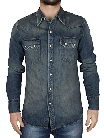 19cda999033 Levis - Tinted Dirty Sawtooth Western Denim Shirt - Mens - Size  S   Amazon.co.uk  Clothing