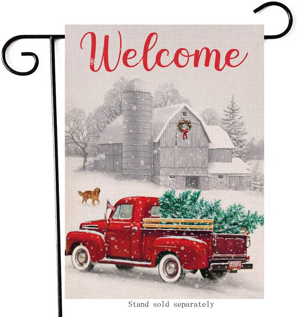 Artofy Winter Welcome Decorative Small Garden Flag, Christmas Country Road House Yard Outside Xmas Red Truck Trees Dog Decor, Holiday Home Decoration Farmhouse Seasonal Outdoor Flag Double Sided 12x18