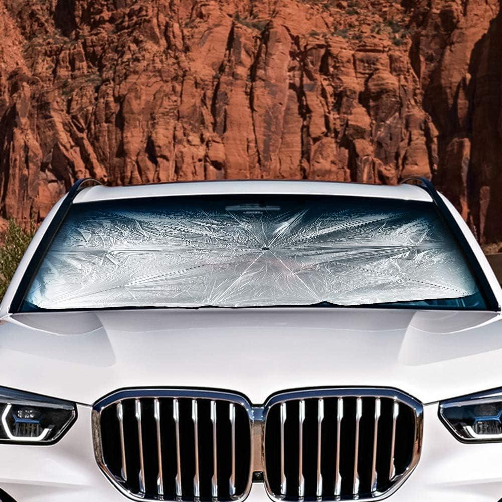 125x65cm Demiawaking Ombrello Parasole Auto Parasole per Parabrezza Interno Copertura Parabrezza Auto Interno Anti UV Parasole per Auto Pieghevole e Portabile con Martello di Sicurezza Auto