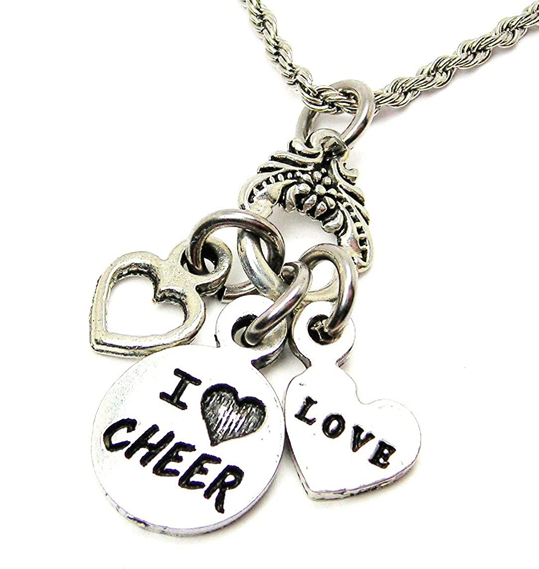 I Love Cheer 20 Stainless Steel Rope Chain Chubby Chico Charms Exclusive