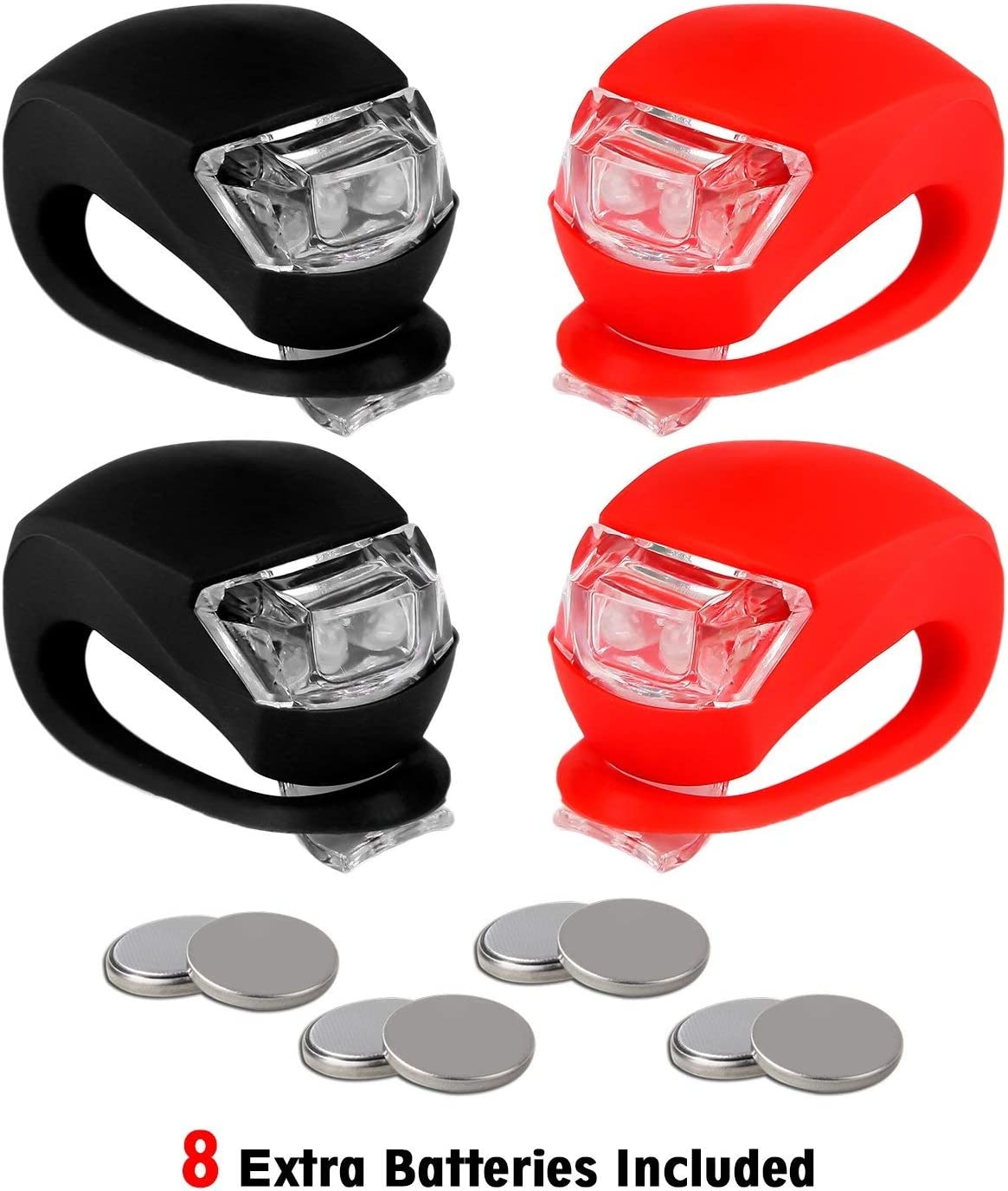 REFUN Bicycle Light - Front and Rear Silicone LED Bike Light Set - High Intensity Multi-Purpose Water Resistant Headlight - Taillight for Cycling Safety,Batteries Included,4 Pack