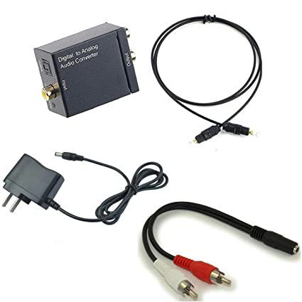 Gemgoo Digital Optical Coax to Analog RCA Audio Converter Adapter With Fiber Cable&Power Adaptor