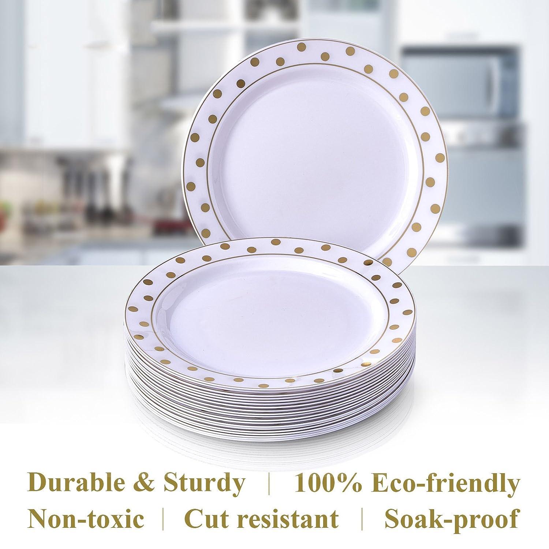 VAJILLA PARA FIESTAS DESECHABLE DE 20 PIEZAS | 20 platos de ensalada| Platos de plástico resistente | Elegante aspecto de porcelana fina | Para bodas y ...