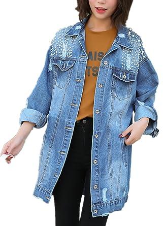 cce486cc6520 IWFREE Femmes Printemps Automne Casual Veste en Jeans avec Perles Col Roulé  Manches Longues Jacket