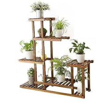 Lldhuajia Lianlian Holz Pflanzenregal Blumentopf Regal Einfach