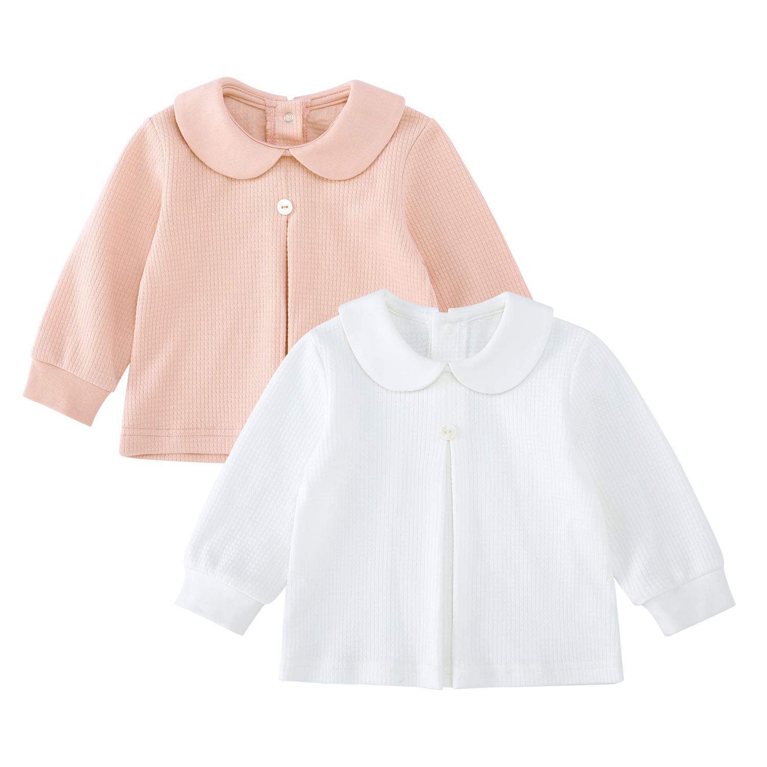 pureborn 2 Pack Baby Girls Cotton Basic Long Sleeve T Shirt Blouse Tops Bottom Peter Pan Collar Tee White& Pink