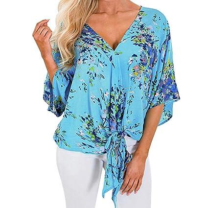 Longra☆ Diseño único para España Women Bandage Fashion Blusa Camiseta Estampada de Moda Boho Casual