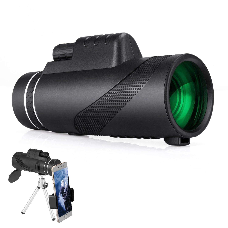 Monocular Telescope, Dual Focus 10x42 HD Night Vision Optics Monocular Scope with Quick Smartphone Holder, Waterproof Outdoor Telescope Spotting Scope for Travel