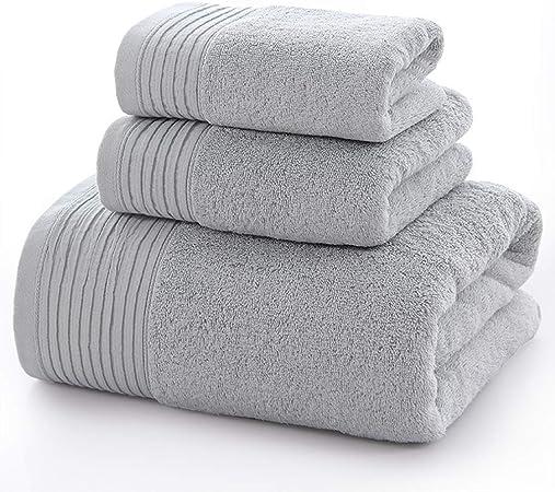 WYQ Juegos de Toallas Juegos de Toallas Pack-3 (Toalla de baño, Toalla de Mano y Toallita) Sábanas de Toalla Multiusos absorbentes de algodón Suave y Familiar Grande (Color : Gray): Amazon.es: Hogar