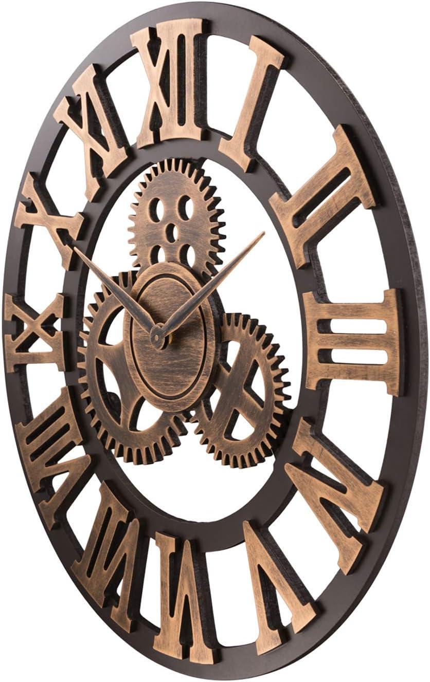 Diam/ètre 58cm ufengke Horloge Murale Engrenages Geante Industrielle Horloge Quartz Deco Bois Argent pour Salon Bar Chambre