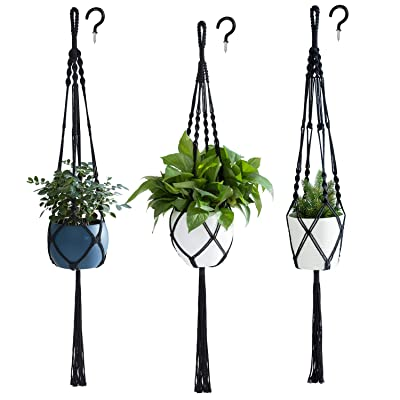 PROTITOUS Macrame Plant Hanger 3pcs Black Indoor Hanging Planter Basket Flower Pot Holder Cotton Rope with Ceiling Hook,Same Size,4 Legs 37 Inch: Garden & Outdoor