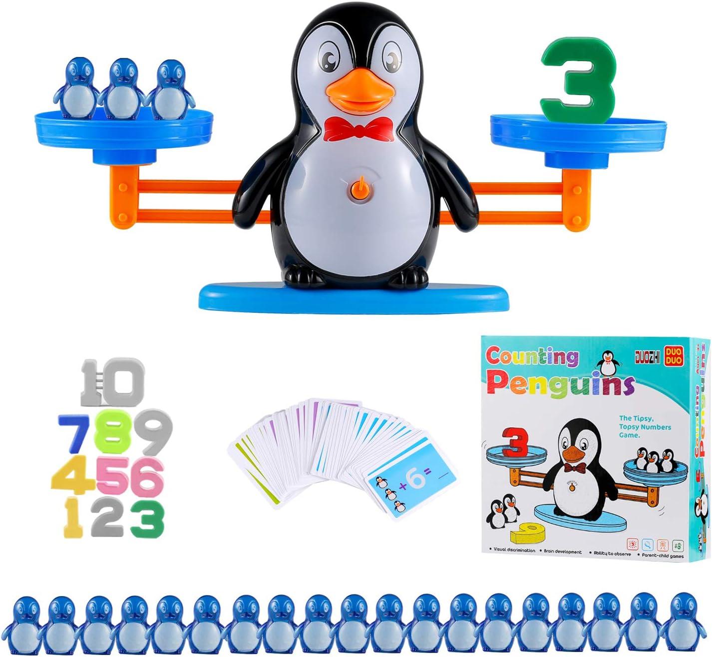Ulikey Equilibrar Juego de Matemáticas, Juguete Animal Balanza, Juguete Educativo de Equilibrio, Balanza de Equilibrio Números Tarjetas, Juego Regalo Educativo para Niñas (Pingüino)