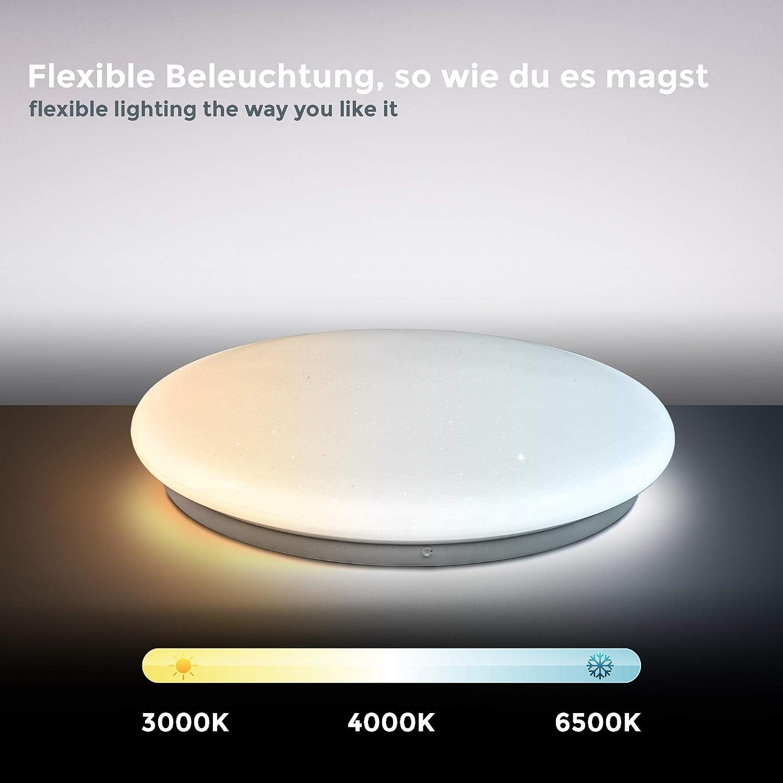 B.K.Licht 17W LED Sternenhimmel I dimmbare Deckenleuchte I Deckenlampe mit Farbtemperatursteuerung CCT I Nachtlichtfunktion I Sternendekor I IR-Fernbedienung I /Ø338mm